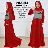 Fila set kids 3in1 merah, baju muslim anak, Stellashoppie