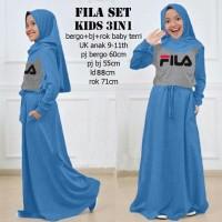 Fila set kids 3in1 biru, baju muslim anak, Stellashoppie