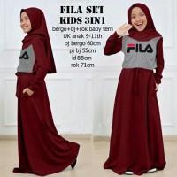 baju muslim anak perempuan Fanta Set Fruity Fila Kids 3in1