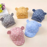 Topi Import Anak Bayi / Baby Baseball Cap / Ear Cat Hat Polkadot Korea