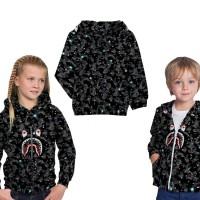 Jaket Sweater Anak Fullprint Space bape Shark