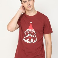 Santa Liner in Wine Burgundy in Graphic T-Shirt