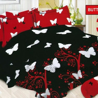 Set Bed Cover / Bedcover Bonita King 180 x 200 Motif Butterfly