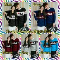 Baju Couple Lengan Panjang Couple Sweater Triple Fila