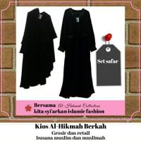 Baju Setelan Muslimah L | Setelan Safar Jetblack Purdah 2 Lapis Sifon