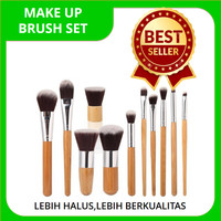 MAKE UP BRUSH SET|KUAS MAKE UP 11 SET LENGKAP DAN BULU LEBIH HALUS