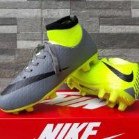 Sepatu Sepak Bola Anak Nike Skin High Abu Hijau List Hitam Import