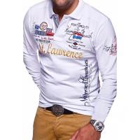 ZOGAA Kasual Polo Shirt Pria Lengan Panjang Katun Polyester Slim Fit