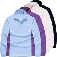Polo Shirt Pria Lengan Panjang Blusas Wanita Tops Warna Solid