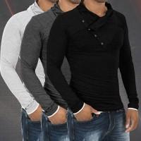 Pria fashion slim fit kasual polo shirt lengan panjang t-shirt tops bl