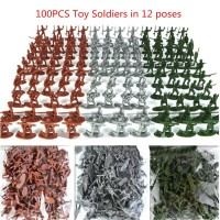 Military Plastic Toy Soldiers Army Men Tan Figures 12 Poses Kids