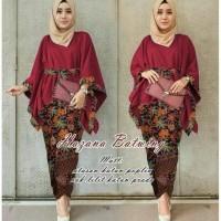 Setelan Rok Batik Hazana Ribon Marun / Baju Muslim Kebaya Batwing