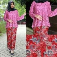 Baju Kebaya Brukat Kutubaru / Kebaya Rok Batik Laila set Pink