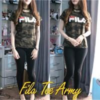 Kaos Wanita Kekinian - Kaos Fila Army - Kaos Lengan Pendek - Baju Ka