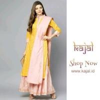 dress laris kajal id pink yellow kurta setelan baju muslim india
