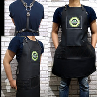 Apron full black synthetic leather Y strep for barberman barista etc