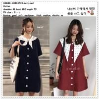 Mini Dress Kemeja Sailor Wanita Korea Import AB534715 Blue Red Merah