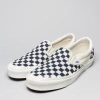 Sepatu Vans OG Classic Slip On Navy Blue White Checker - Checkerboard