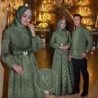 Baju Couple Muslim Batik Gamis Pasangan Organza Rubby Raswa Army