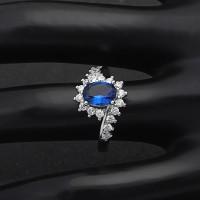 Cincin Lapis Emas Putih Silver Batu Biru Safir Imitasi Oval - BR289
