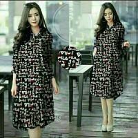 fgh tunik XL fila Black HITAM / baju wanita blouse dress cewek