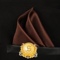 pocket square / sapu tangan saku coklat polos silk import ready