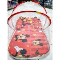 kasur bayi lipat kelambu karakter mickey mouse