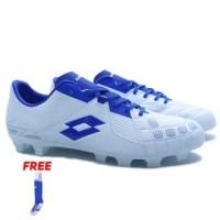 100% ORIGINAL - Sepatu Bola Lotto Squadra FG (White/Dawn Blue/Pacific