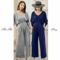 Jumpsuit panjang batwing polos ECL bahan mosscrepe fit to L besar