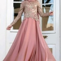 abaya gamis maxi dress gaun pesta muslim brokat satin mewah modern