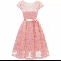 fashion anak remaja fit 12-17 thn dress gaun brukat pesta maxi dusty