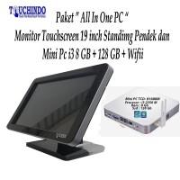 Paket Monitor Touchscreen 19 inch Standing Pendek Mini PC i3 8G 128G