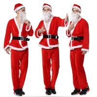 set kostum baju natal wanita pria santa claus cosplay terusan import