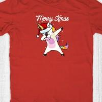 Kaos natal anak dewasa - Unicorn Santa Dab Red