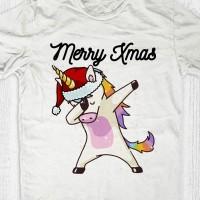 Kaos natal anak dewasa - Unicorn Santa Dab
