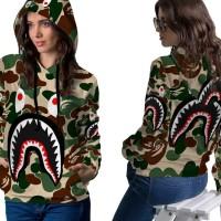 Jaket Hoodie Sweater Wanita CAMO BAPE SHARK 3D Full Print PullOver 01