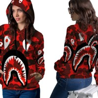 Jaket Hoodie Sweater Wanita CAMO BAPE SHARK 3D Full Print PullOver 02