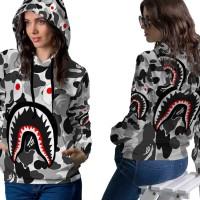 Jaket Hoodie Sweater Wanita CAMO BAPE SHARK 3D Full Print PullOver 04
