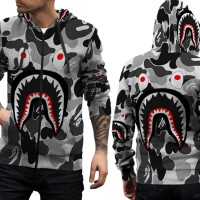 Jaket Hoodie Sweater Pria CAMO BAPE SHARK 3D FullPrint Zipper Art 04