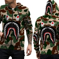 Jaket Hoodie Sweater Pria CAMO BAPE SHARK 3D FullPrint Zipper Art 01