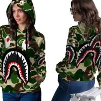 Jaket Hoodie Sweater Wanita CAMO BAPE SHARK 3D Full Print PullOver 05