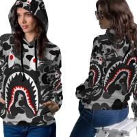 Jaket Hoodie Sweater Wanita CAMO BAPE SHARK 3D Full Print PullOver 03