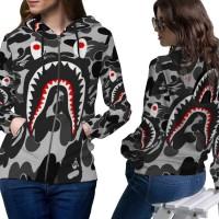 Jaket Hoodie Sweater Wanita CAMO BAPE SHARK 3D Full Print Zipper 03