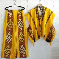 setelan ethnic blouse celana kulot kain tenun jepara batik wanita