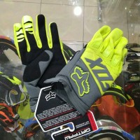 Sarung tangan motor karet motorcross trail glove fox new hijau stabilo