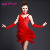 Baju dansa ballroom Starry sky Rumbai samping set anting dan gloves