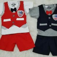 Baju Setelan Anak Bayi Laki2 Baju Pesta Rompi England Dasi Kupu-kupu