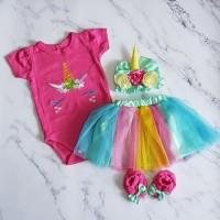 Baju bayi jumper set bayi perempuan-unicorn
