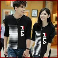 Baju Couple Lengan Panjang Couple T-Shirt Combi Salur Fila Mrg
