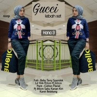 Baju Setelan Wanita Atasan Celana Gucci Lebah Set